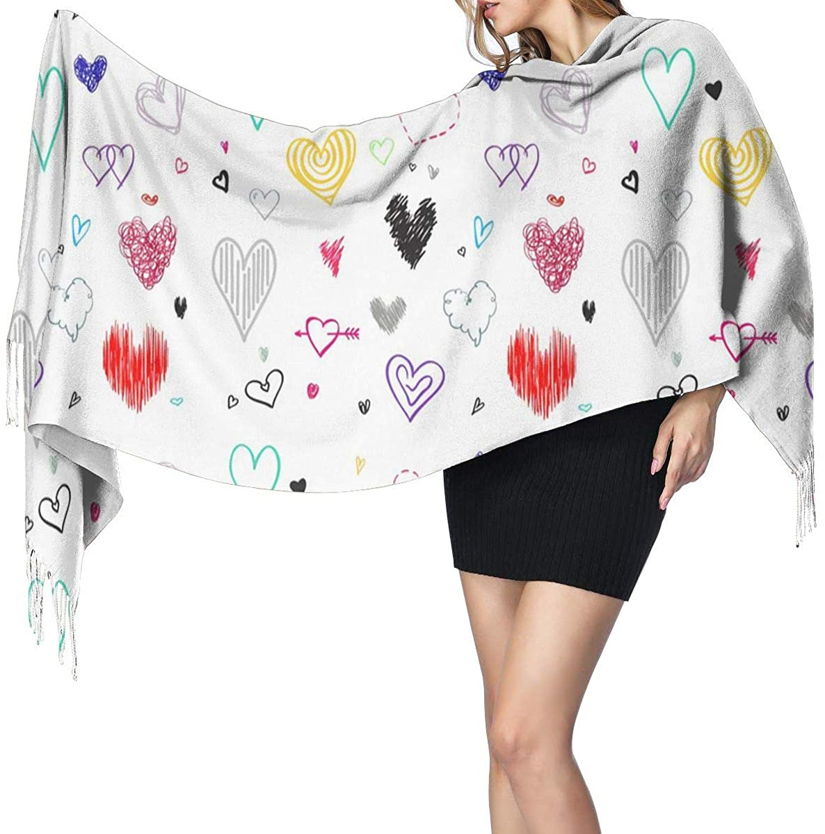 Extra Large -Womens Warm Long Shawl Wraps Large Scarves Cashmere Feel Scarf,Hearts White Love Sign,27x77 Inch