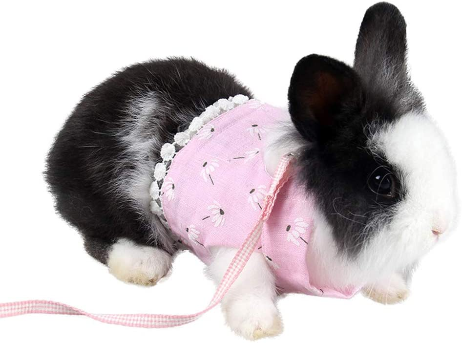 Mummumi Small Animal Harnesses, Breathable Cotton Cloth Flower Hamster Harness Leash for Hamster Gerbil Rat Mouse Ferret Chinchilla Glider Squirrel