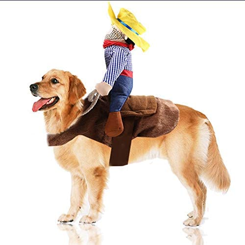 Juesi Cowboy Rider Dog Costume for Dogs Clothes Knight Style with Doll and Hat for Halloween Day Pet Costume