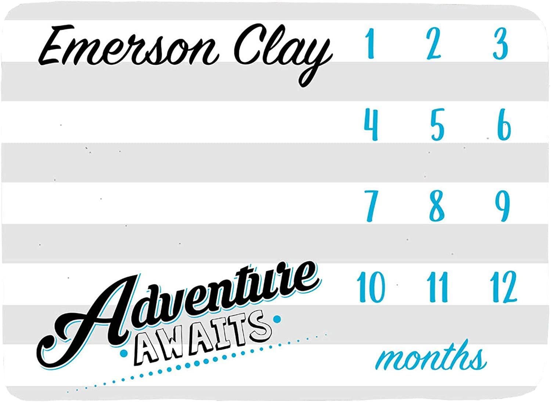Adventure Awaits Baby Milestone Blanket, Personalized Baby Blanket, Month Baby Blanket, Baby Boy Blanket, Newborn