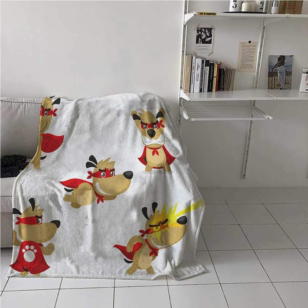 Breathable Blanket Superhero Puppy with Paw Costume and Mystic Powers Laser Vision Supreme Talents Luxury Bed Blanket Microfiber for Kid Baby Toddler Teenager Red Cream White 54 x 84 Inch