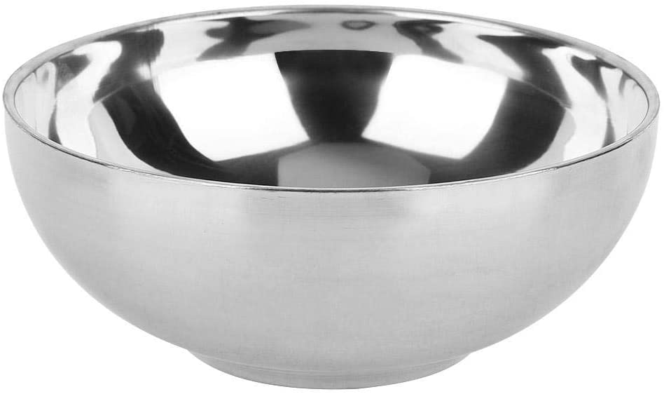 Stainless Steel Bowl - Delaman Household Double Layer Noodles Soup Food Fruit Container 1PC(L)