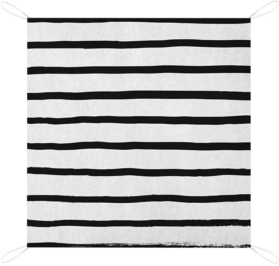 Nomorer Modern Sand Free Picnic Blanket Mat, Abstract Minimalist Horizontal Paintbrush Stripes Bands Simplistic Light Picnic Blanket, 67 x 57, Charcoal Grey