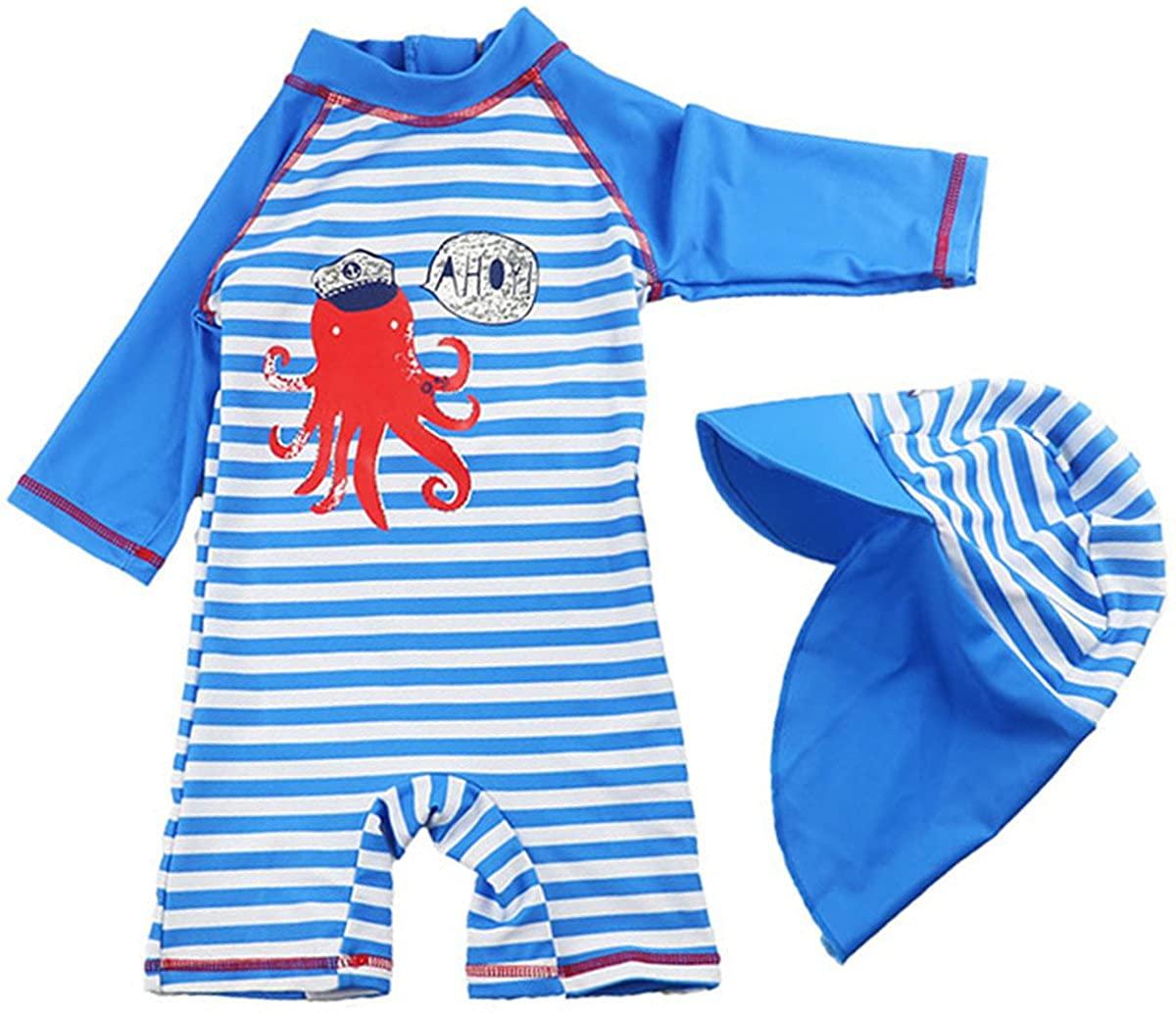 Baby Kids Boys Girls One Pieces Cartoon Print Long Sleeve Rash Guard UPF 50+ UV Swimsuit with Sun Hat