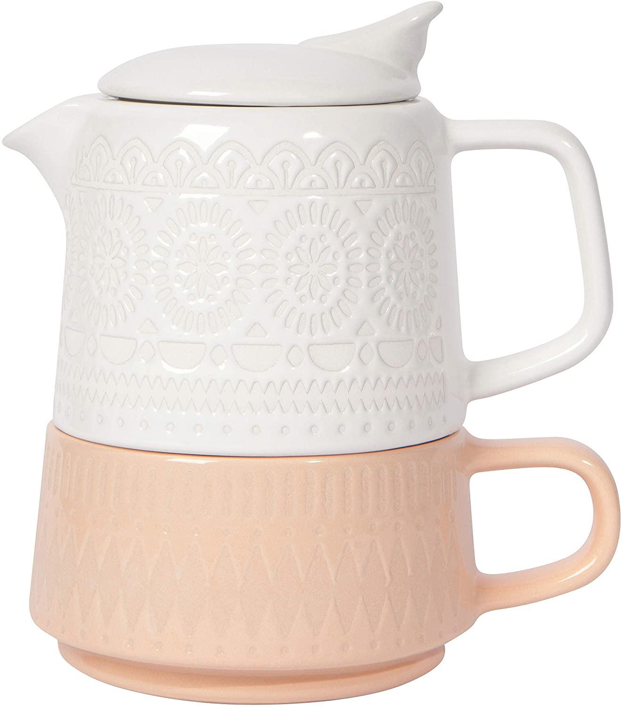 Now Designs Jubilee Tea Stoneware Teapot Set, Orange