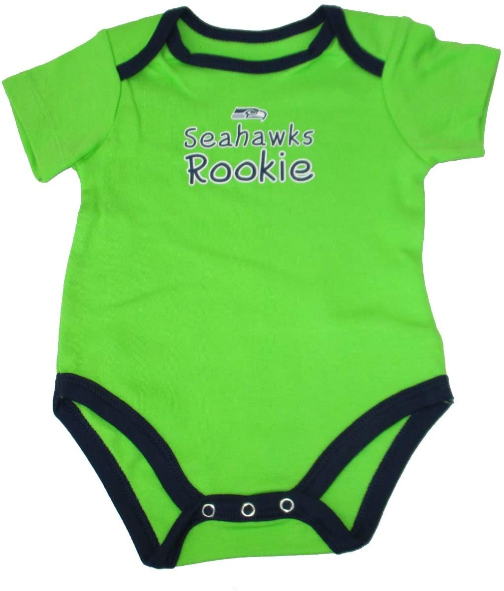 NFL Team Apparel Seattle Seahawks Size 0-3 Months One Piece Bodysuit Creeper - Lime