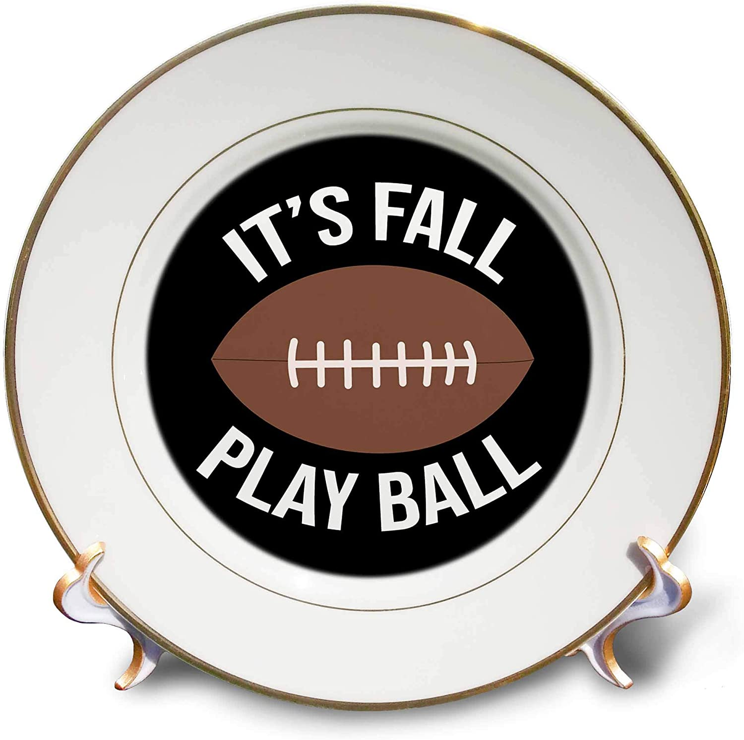 3dRose Stamp City - Typography - Its Fall Play Ball with Football. White Letters on Black Background. - 8 inch Porcelain Plate (cp_324883_1)