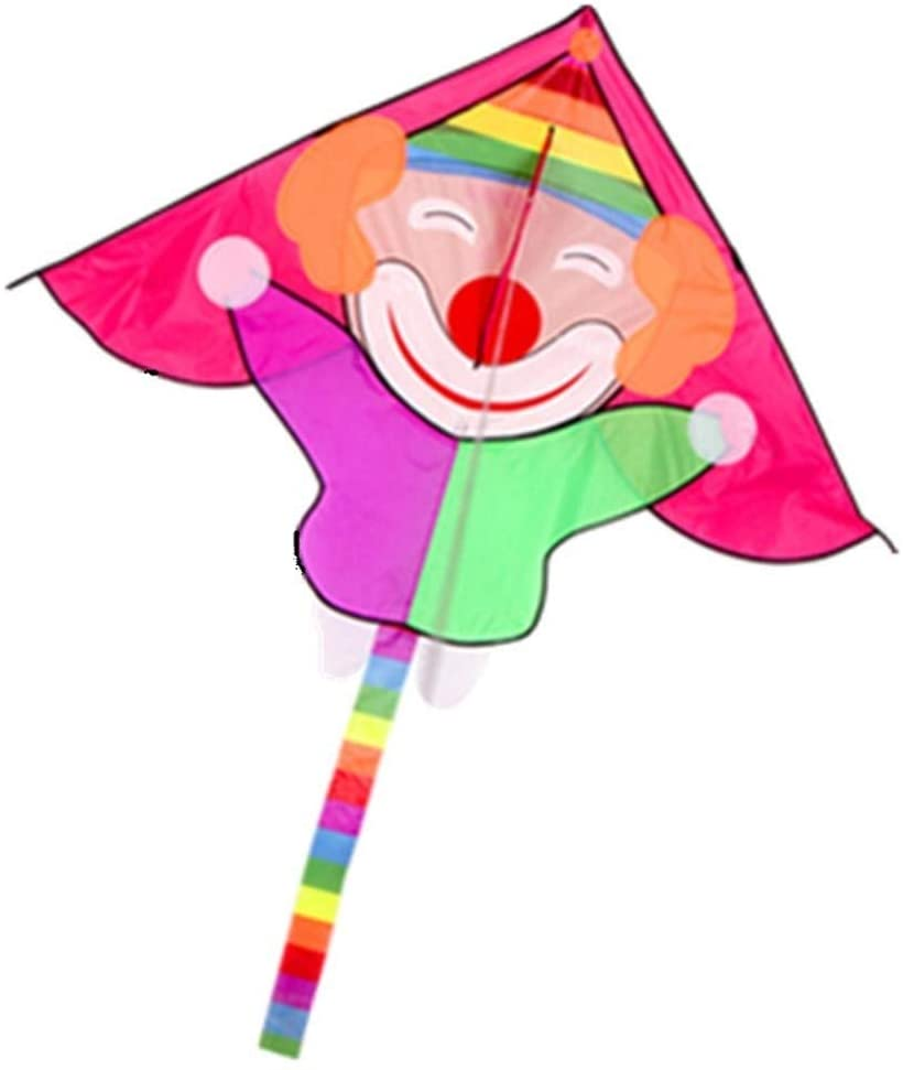 LILIANG Kite, Kids Kite Kites for Kids Easy to Fly with Outdoor Sports Cute Clown Kite Breeze (Color : Red)