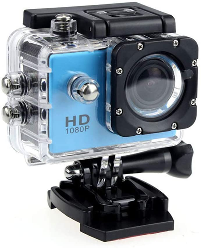 Action Camera, HD 1080P Action Camera Waterproof Camera with 2.0' Screen Underwater Cam Waterproof 30M, for Live Streaming Stabilisation,Blue