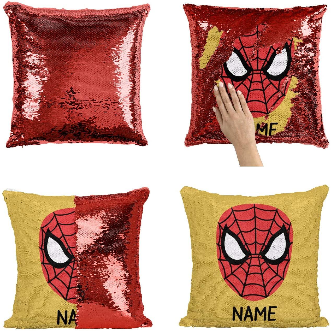 Custom Name Superhero Boy Sequin Pillow, Superhero Personalized Sequin Pillowcase Add Your Text Name Custom Pillow with Boy Name, Personalized Mermaid Pillow Superhero_2_P407
