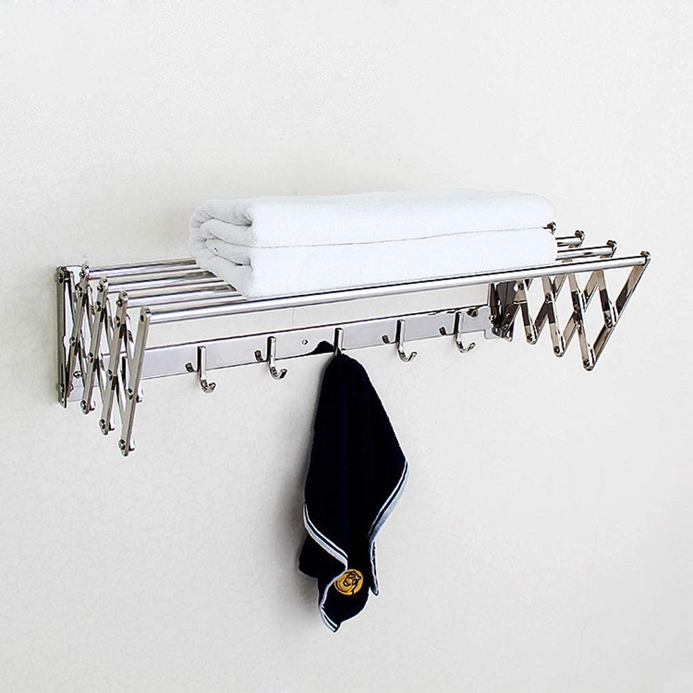 WYFGJDHT Stainless Steel Adjustable with Hooks Towel Rack, Bathroom Shelf Wall-Mounted Durable Bathroom Accessorie Towel Rail for Bathroom Hotel-Silver 75cm(30inch)
