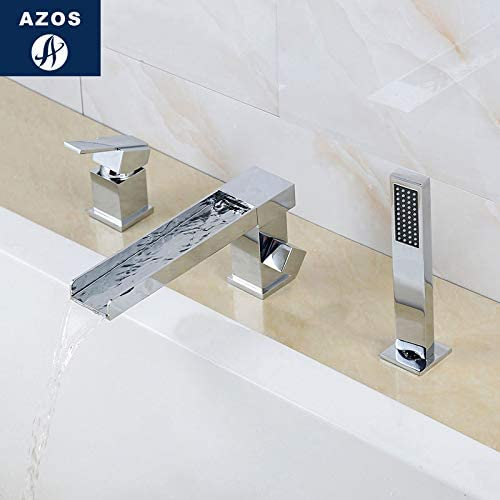 Azos Split Bathtub Faucet Waterfall Wash Basin Brass Chrome Cold and Hot Switch Two Function Bathtub Bathing Bathroom SquareDeck Mounted 3 Pcs32-40mm AYGSJB001A