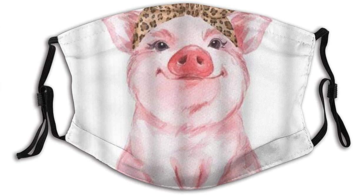 KASMILN Pig Farm Animal Funny Cute Piggy Wearing Leopard Bandana Fabric Half Face Mask Mouth Masks with Earmuffs Anti Dust Anti Haze Windproof Mask