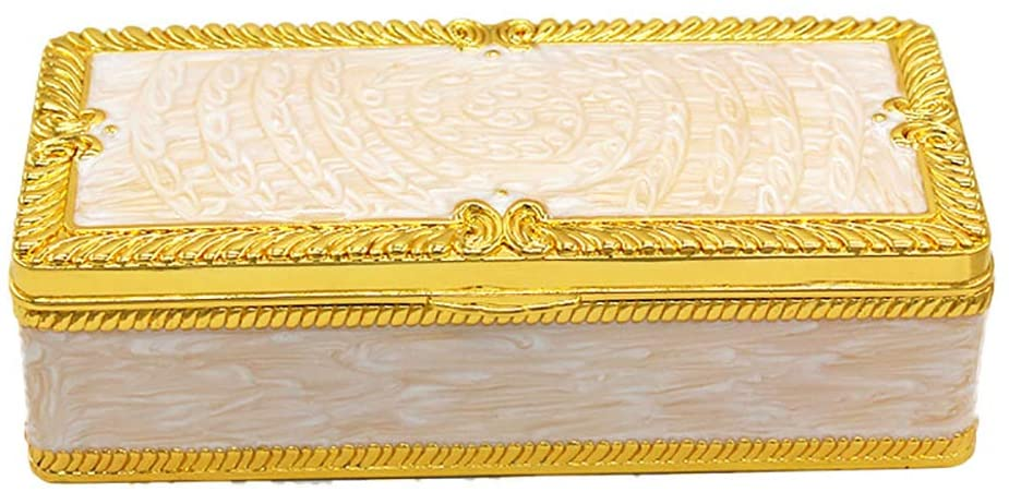 ZHZX Classic Rectangle Jewelry Box, Exquisite Durable Sturdy Handicraft Jewellery Case, for Girls Women Retro Collector Present
