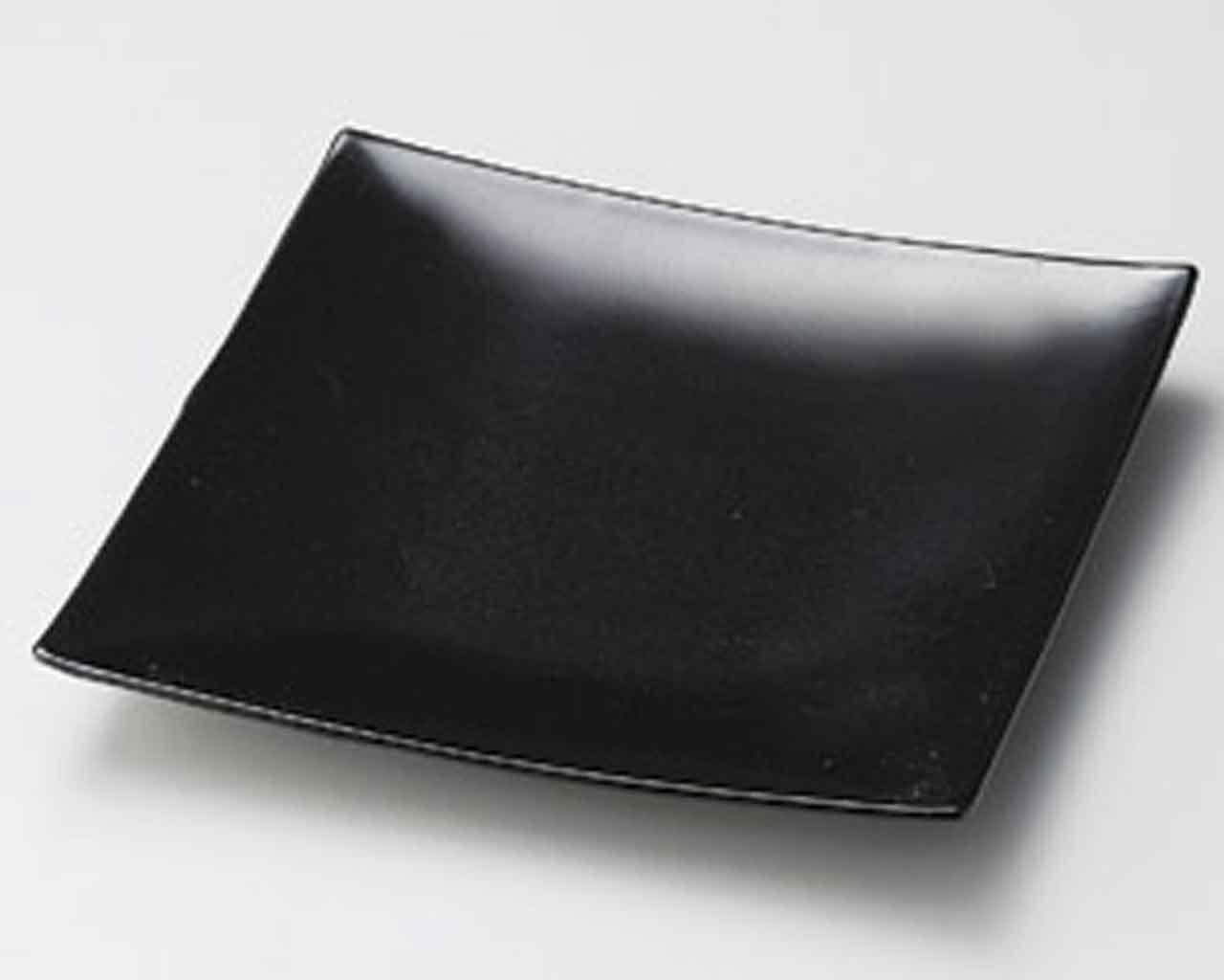 Black Glaze 5.4inch Medium Plate Black Ceramic Made in Japan