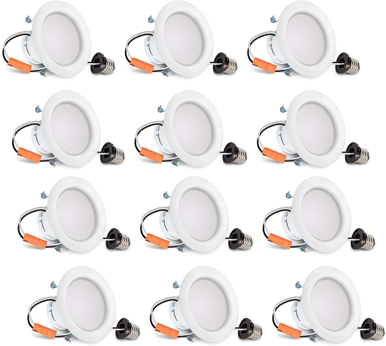 Hyperikon 4 Inch LED Recessed Lighting, 9W=65W, LED Retrofit Downlight, UL, Warm White, 12 Pack