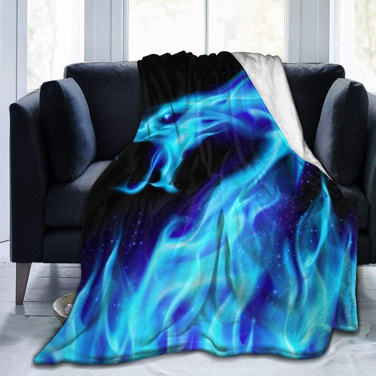 Micro Fleece Plush Soft Baby Blanket Abstract Blue Fiery Dragon Fire Black Fluffy Warm Toddler Bed/Crib Blanket Lightweight Flannel Daycare Nap Kids Sleeping Tummy Time Throw Blanket Girls Boy Kid/Bab