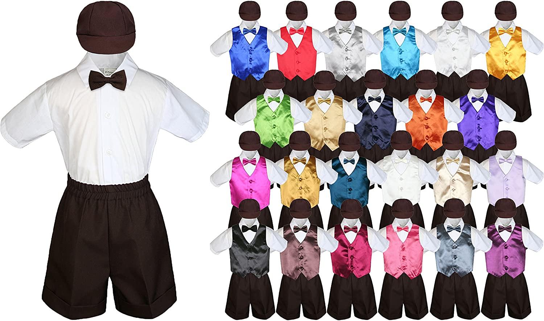 LEADERTUX Baby Kid Toddler Boy Formal Suit Brown Shorts Shirt Hat Bow tie Vest Set Sm-4T (Large (12-18 Months), Mustard)