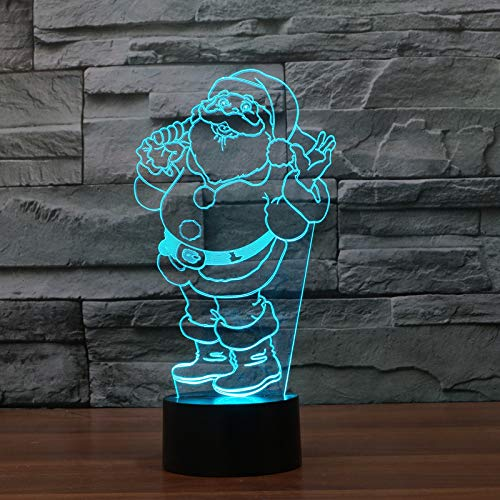 LED Night Light with Cute Santa Pattern,7 Colors Changing with USB Cable,Touch Remote Control, Best for Children Gift Baby Bedroom and Party Decorations.