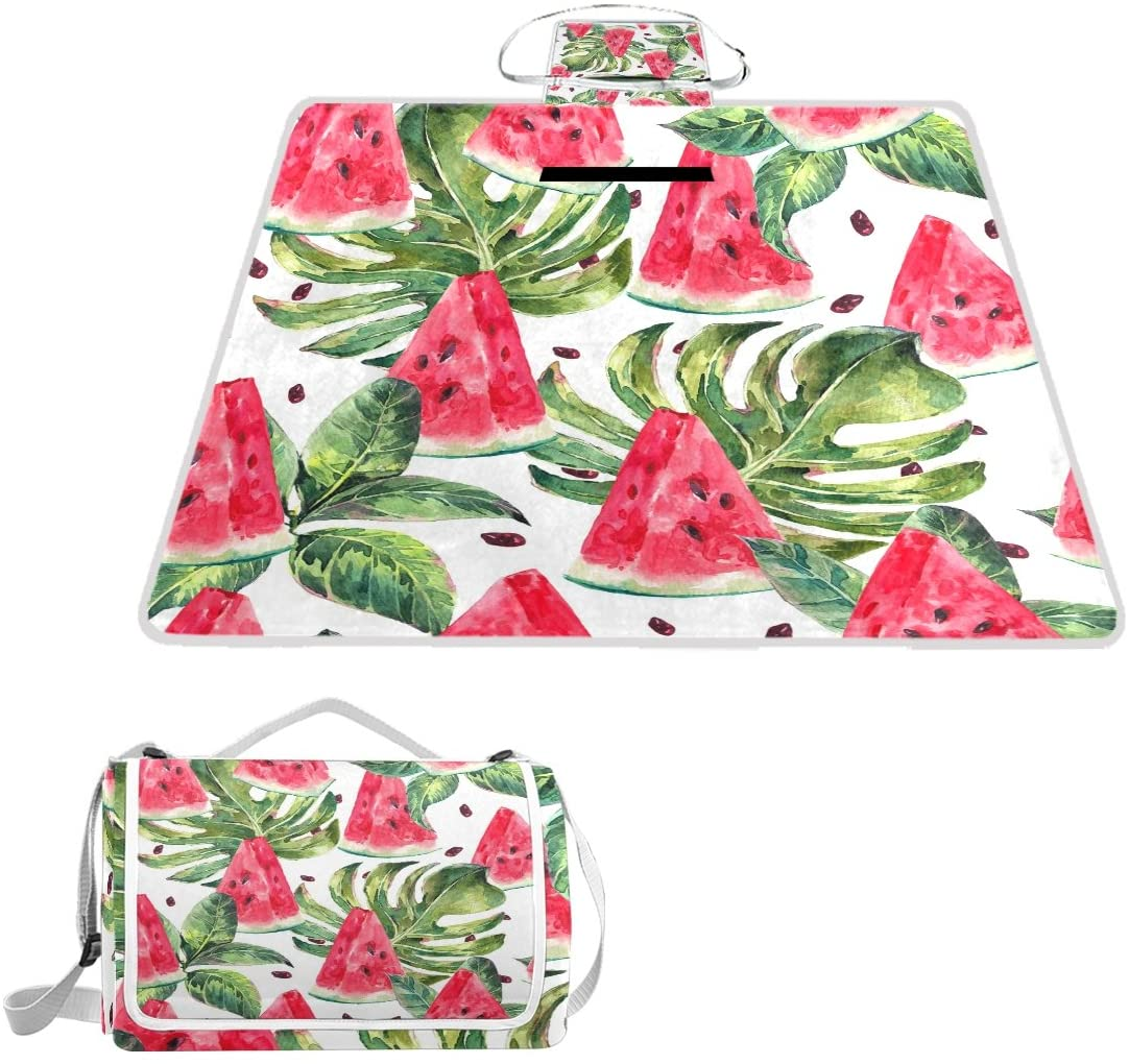 Naanle Summer Watermelon with Palm Tree Leaves Picnic Blanket Outdoor Picnic Blanket Tote Water-Resistant Backing Handy Camping Beach Hiking Mat