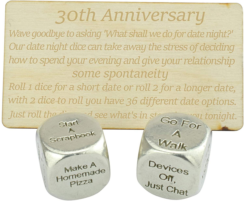 30 Year Anniversary Metal Date Night Dice - Create a Unique 30th Anniversary Date Night