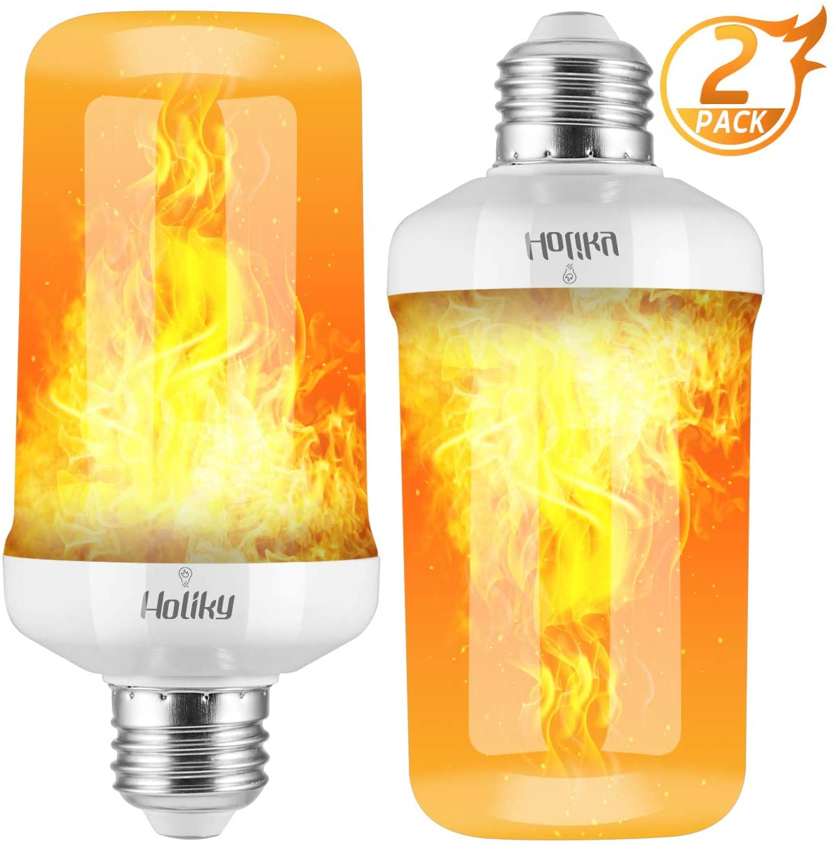 Led Flame Lights Bulbs, Flame Effect Light Bulbs for Christmas Decorations, Updated 4 Modes Fire Flicker Flame Bulb with Upside Down Effect, Orange Christmas Lights Bulbs, 7W E26 Flame Light (White)