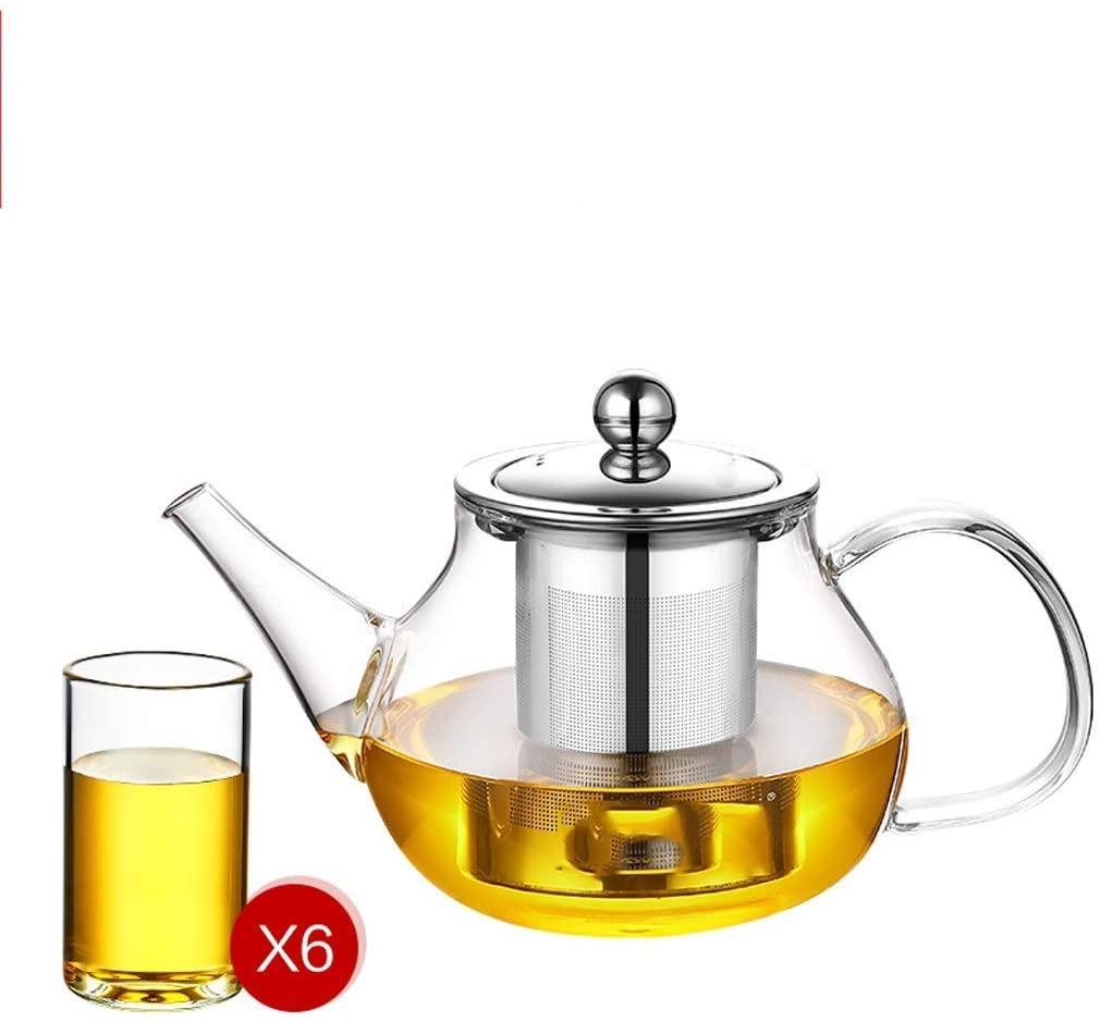 KFDQ Household Glass Kettle,Teapot Kettle Glass Tea Set Elegant Cup Heat-Resistant Flower Teapot Comes with Filter Household Tea Maker Office Tea Ceremony Pot with Six Tea Cups