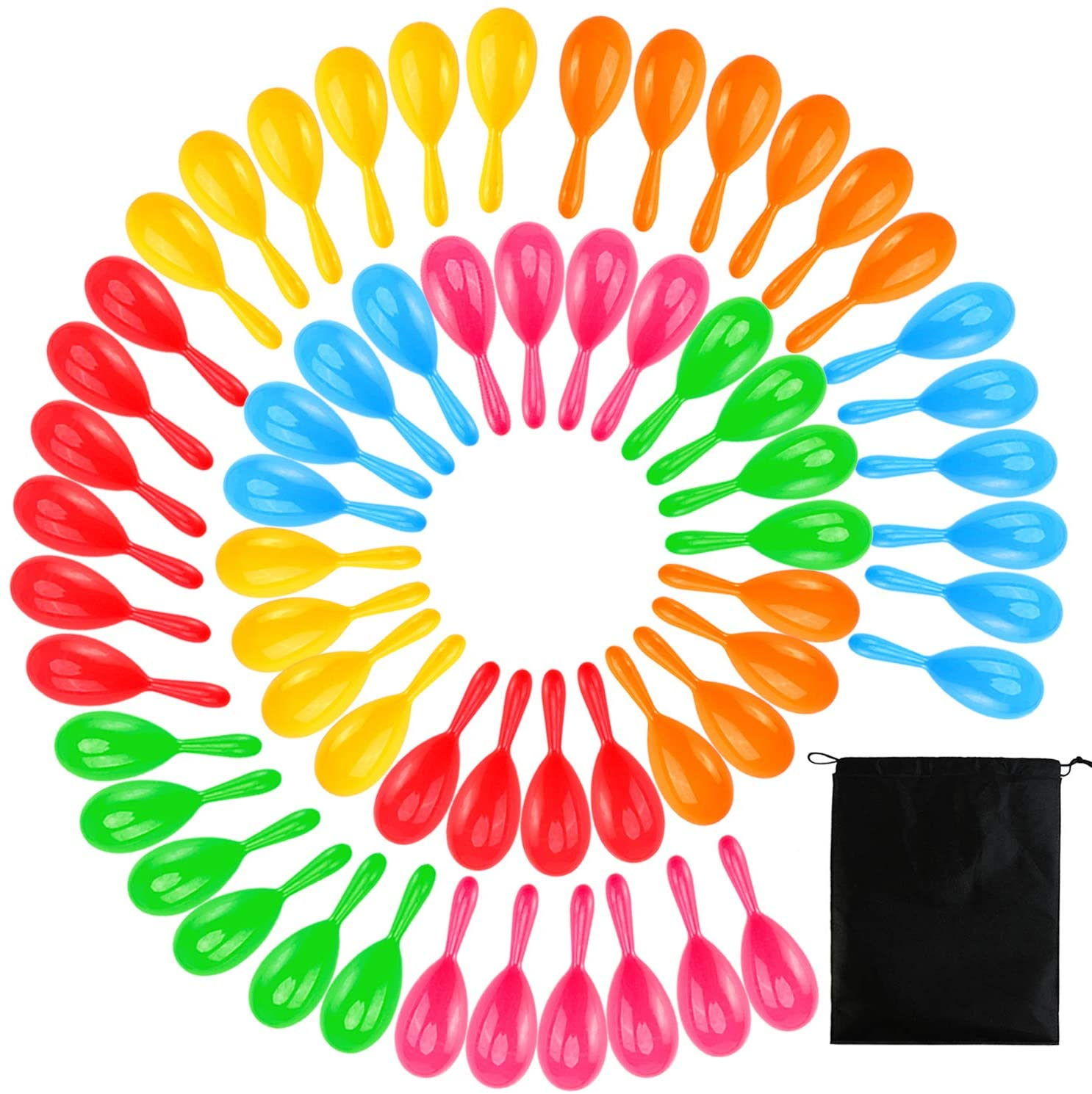 Ruisita 60 Pack Neon Maracas Shakers Noisemaker Mexican 6 Color Mini Maracas Bulk Bright Colorful Noise Maker with Drawstring Bag for Mexican Fiesta Party Favors, 4 Inch