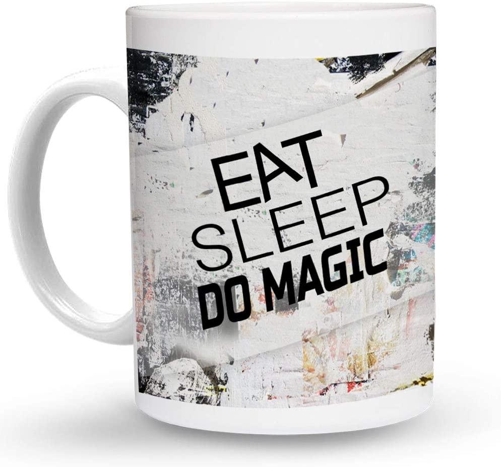 Makoroni - EAT SLEEP DO MAGIC 6 oz Ceramic Espresso Shot Mug/Cup Design#47