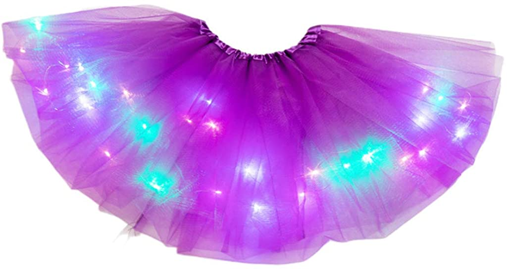 Rhfemd Little Girls LED Light Up Tutu Mini Skirt Neon Colorful Luminous Party Dance Dress