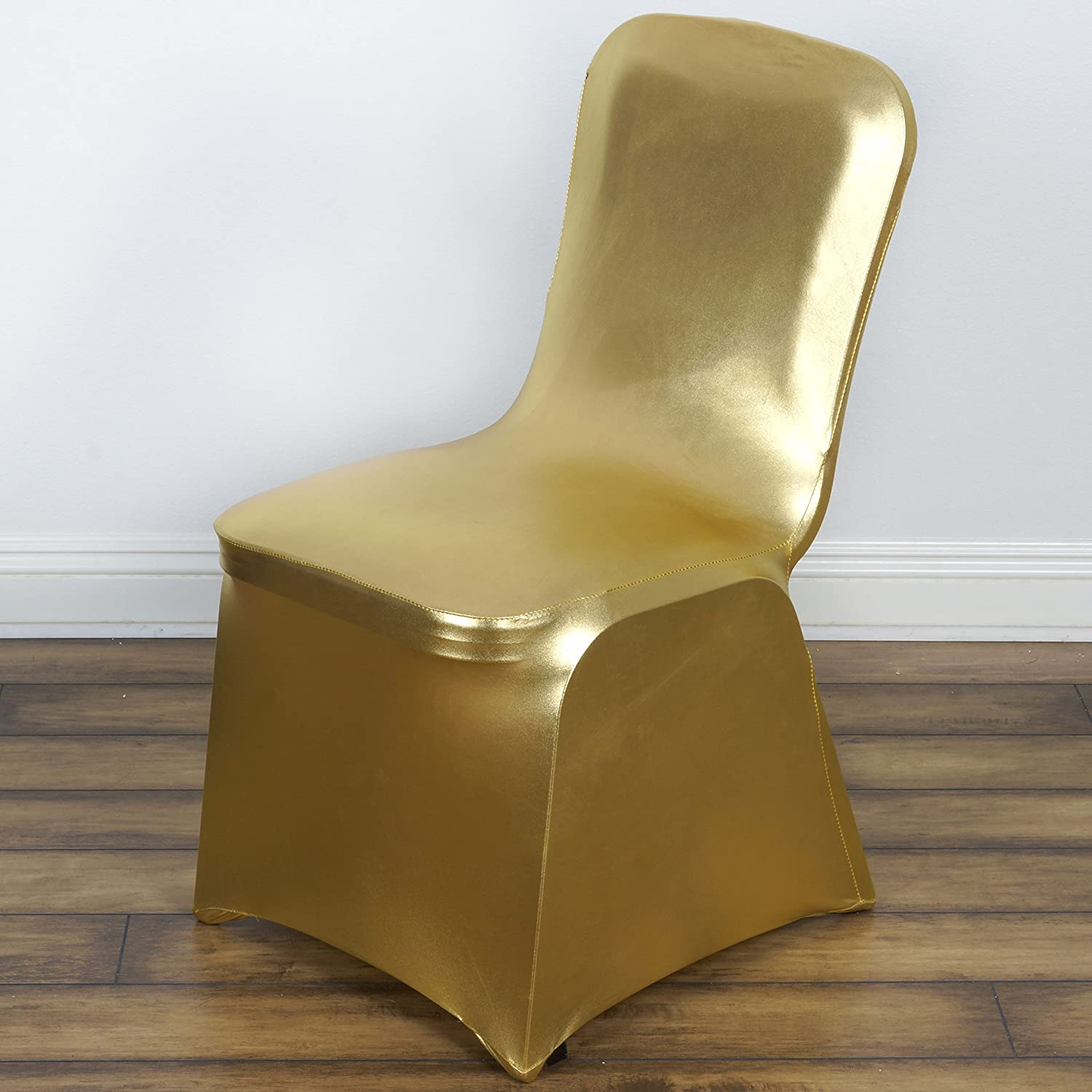 BalsaCircle 10 pcs Gold Metallic Banquet Lame Spandex Stretchable Chair Covers Slipcovers for Wedding Party Reception Decorations