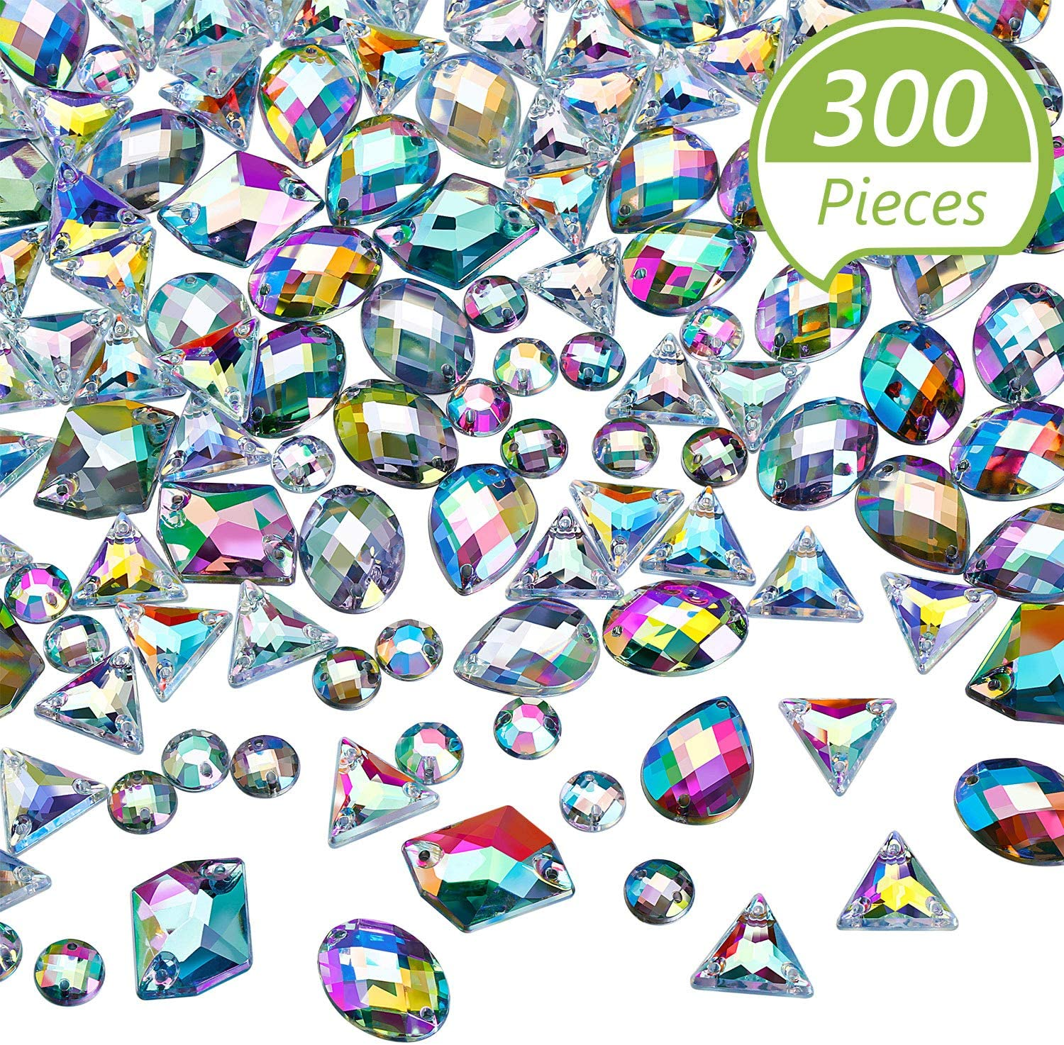 300 Pieces Sew on Rhinestone Sew on crystals Acrylic Gems AB Rhinestones Flatback Crystal Gems for DIY Crafts Dress, Clothes, Shoes, Bag Decorations