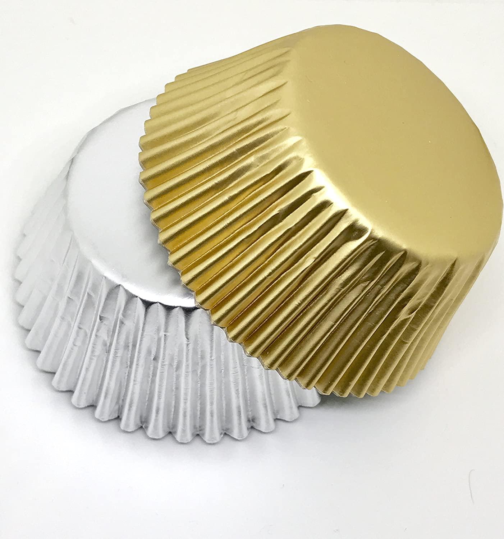 50 pcs Gold & Silver Aluminum Foil Cupcake Liners