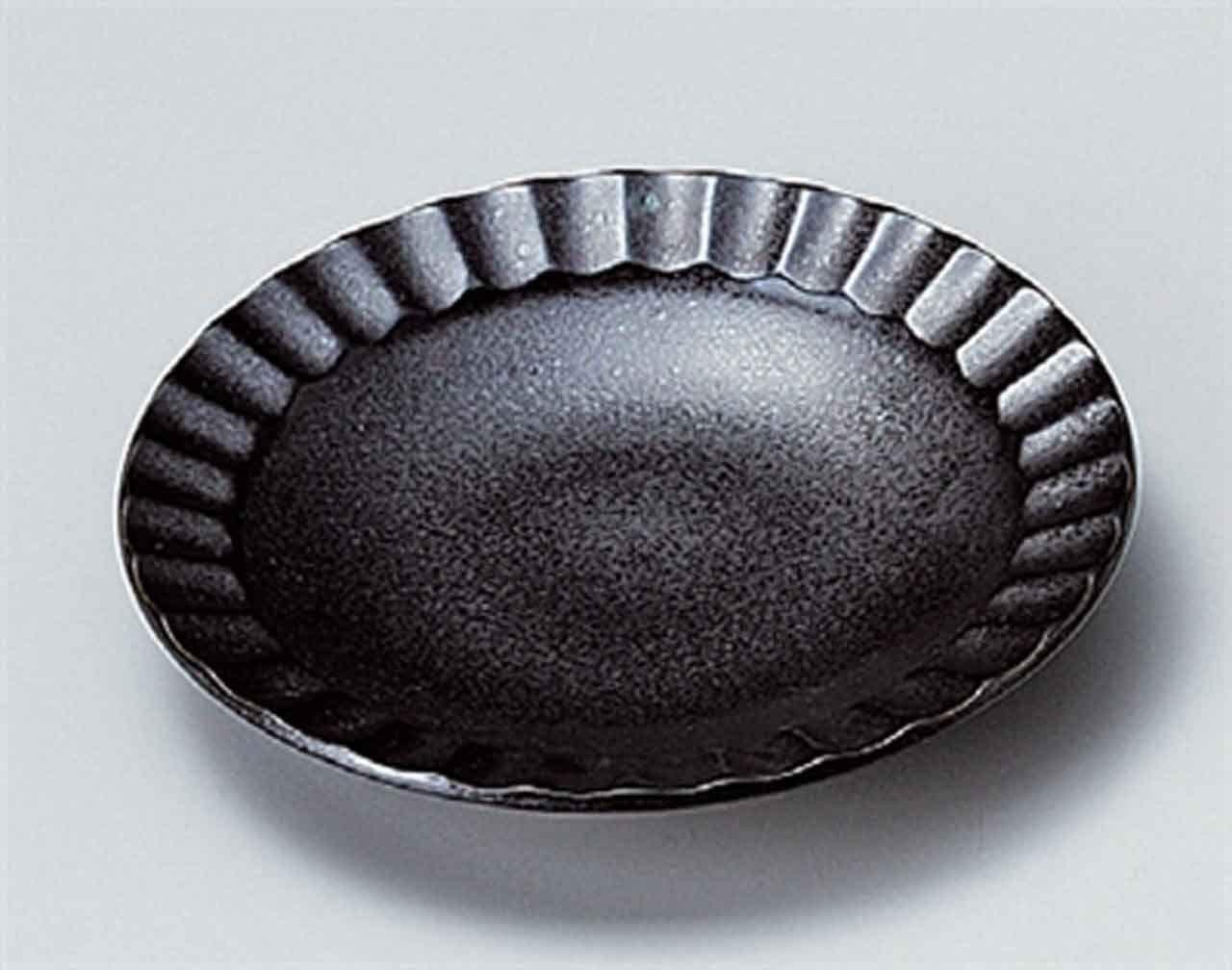 Black Crystal 5.5inch Set of 2 Medium Plates porcelain Made in Japan