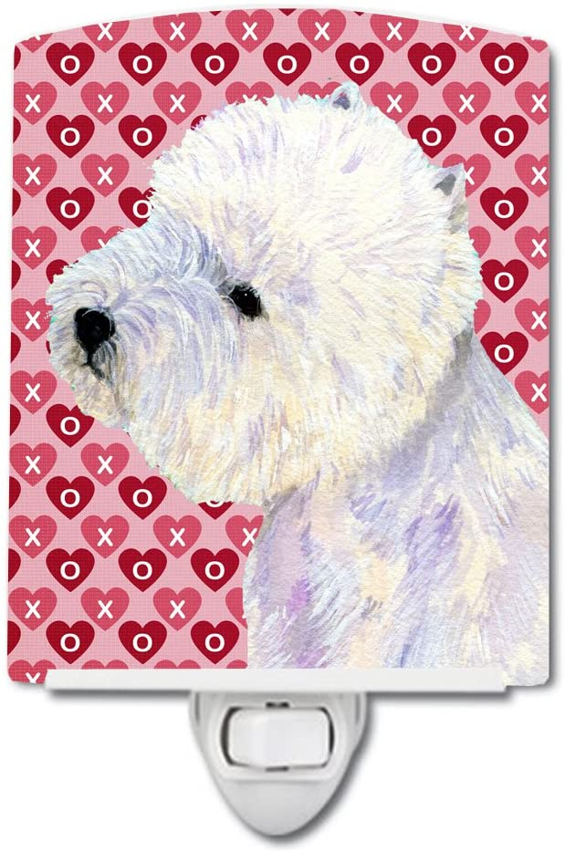 Caroline's Treasures LH9135CNL Westie Hearts Love and Valentine's Day Portrait Ceramic Night Light, 6x4x3, Multicolor