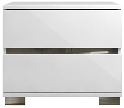 Benjara Benzara Modern Acrylic Nightstand, White,
