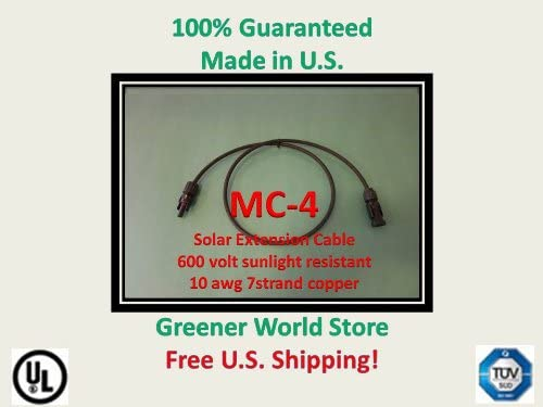 50 Foot Mc4 Solar Cable for Photovoltac Solar Panels with Mc4 Solar Connector Cable 50 Feet Long and Mc4 Connectors At Each End.