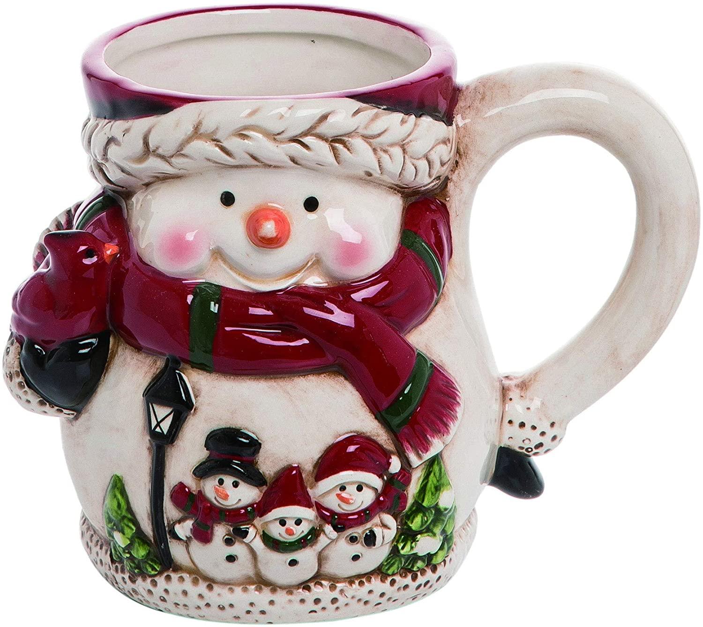 Bundled Snowman Glossy White 6 x 4 Dolomite Ceramic Christmas Coffee Mug