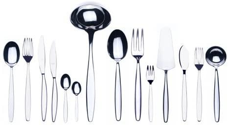 Mepra 103822113S Immagina 113-Piece Flatware Set-Silver Finish Dishwasher Safe Cutlery