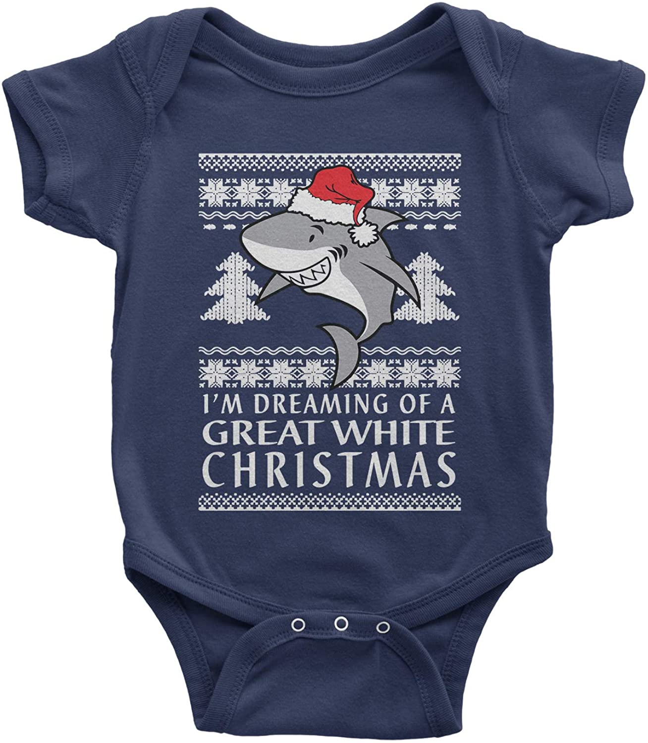 Expression Tees Dreaming of A Great White Christmas Infant One-Piece Romper Bodysuit