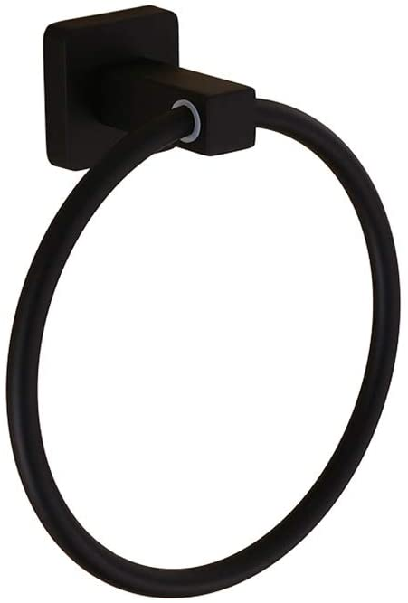 LRHD Hole-Free Black Circular Towel Ring Stainless Steel Bath Towel Holder Hand Towel Ring Hanging Towel Hanger Bathroom Accessories Contemporary Hotel Square Style Wall Mount