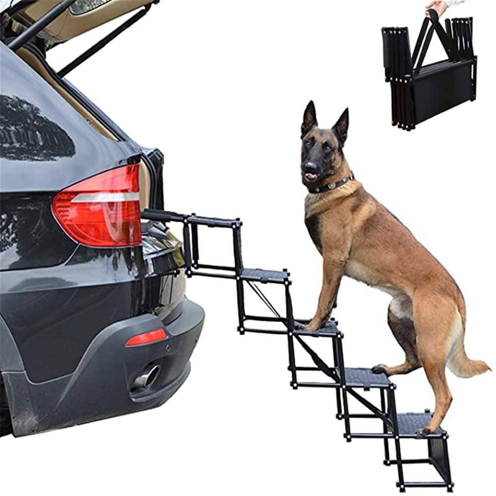XFSD Folding Dog Car Steps, Upgraded Nonslip Car Dog Steps, Lightweight Foldable Pet Ladder Ramp with Nonslip Surface for Trucks, Cars, Couch and High Bed