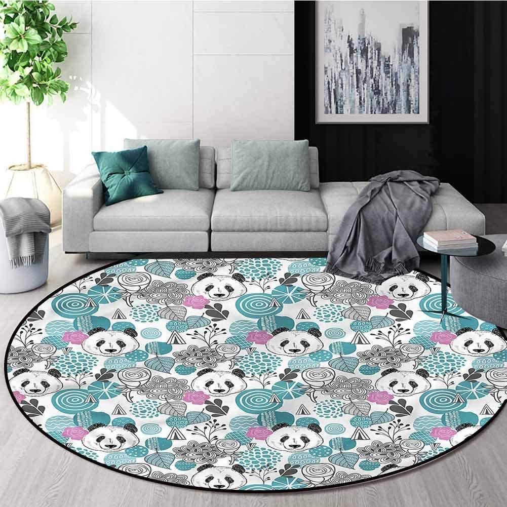 RUGSMAT Panda Luxury Round Area Rugs,Portraits of Chinese Bears Non-Slip No-Shedding Kitchen Soft Floor Mat Diameter-63