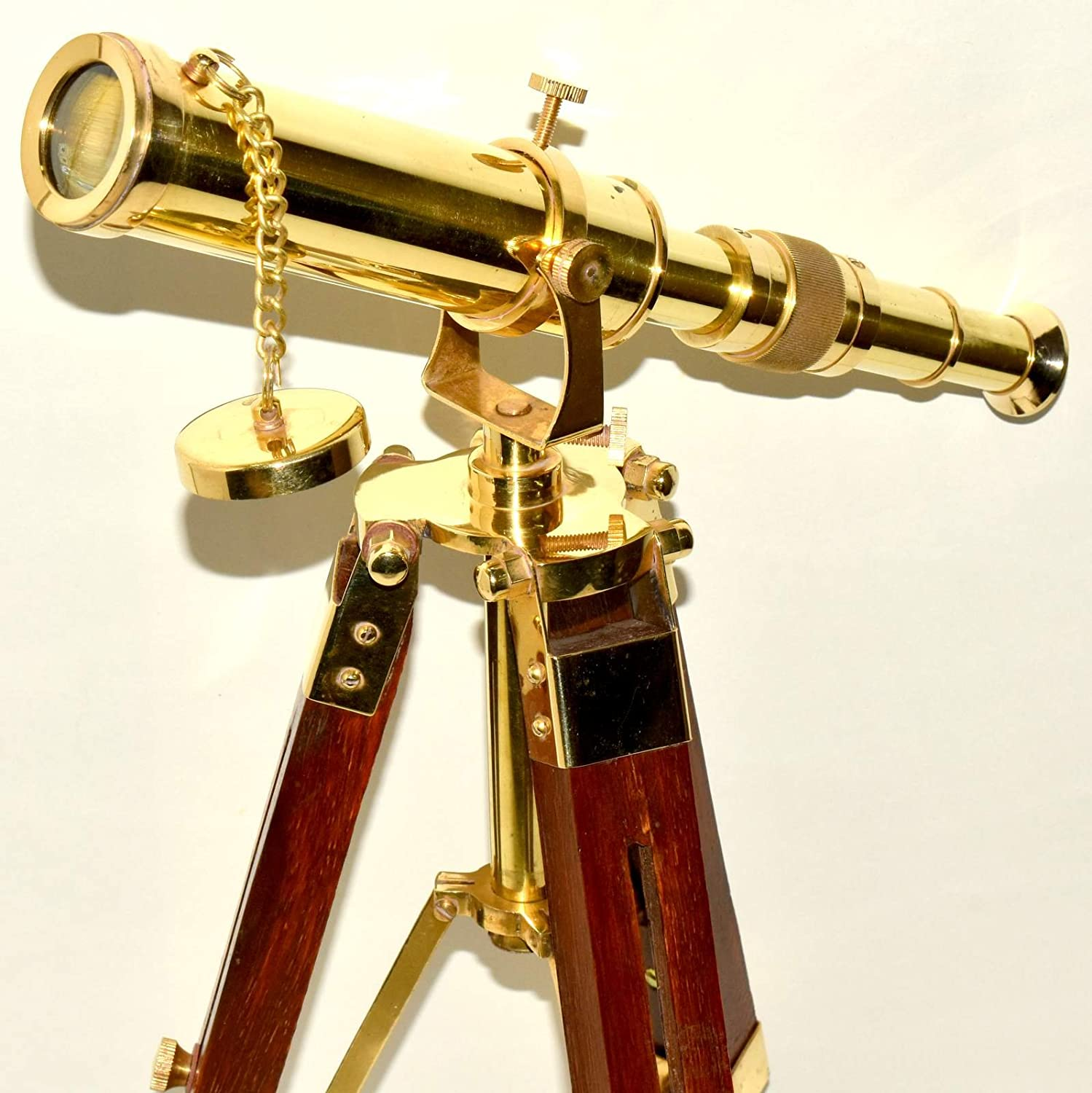Nautical Vintage Navy Marine Brass Telescope with Wooden Tripod Stand