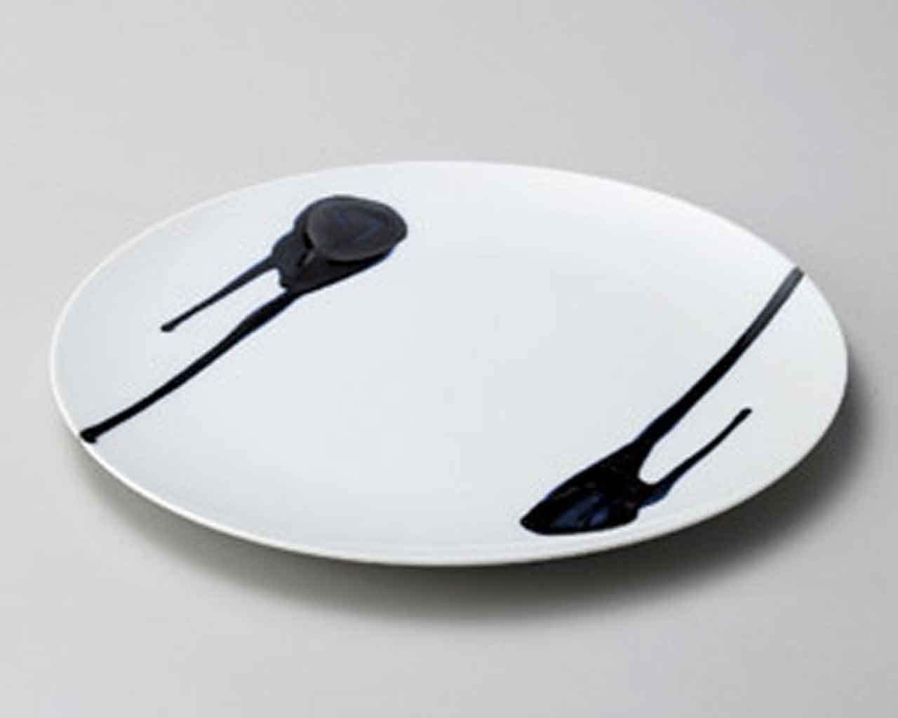 Gosu Nagashi 9.1inch SUSHI PLATE White porcelain Made in Japan