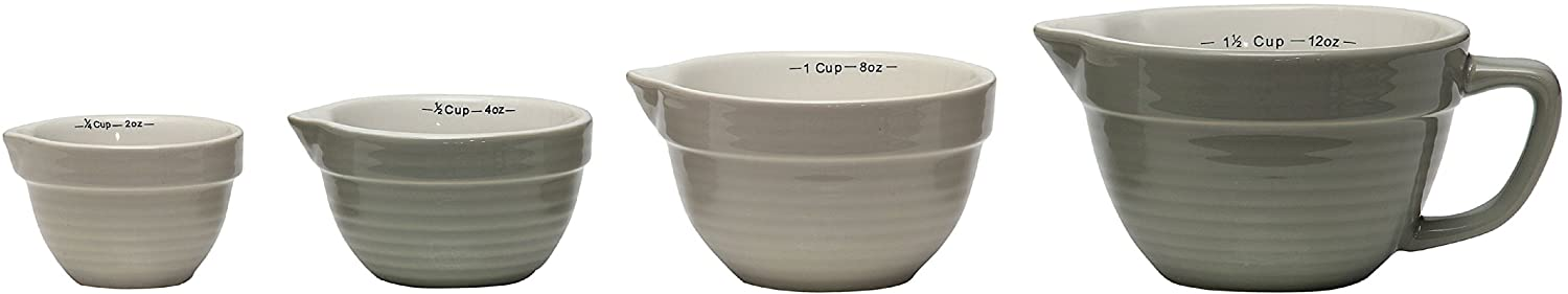 Creative Co-Op DA2318 Set of 4 Batter Bowl Shaped Measuring Cups in Greys