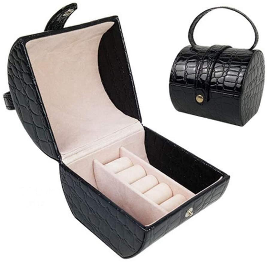 HONGGE Jewellery Box,Portable Jewelry Box Hand-held PU Leather Jewelry Storage Box Ring Stud Velvet Jewelry Box 1010.39.5cm