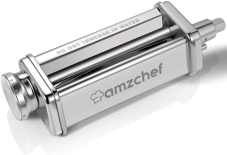 Pasta Roller Attachment, AMZCHEF Stainless Steel Pasta Maker Machine Accessories for KitchenAid Stand Mixers