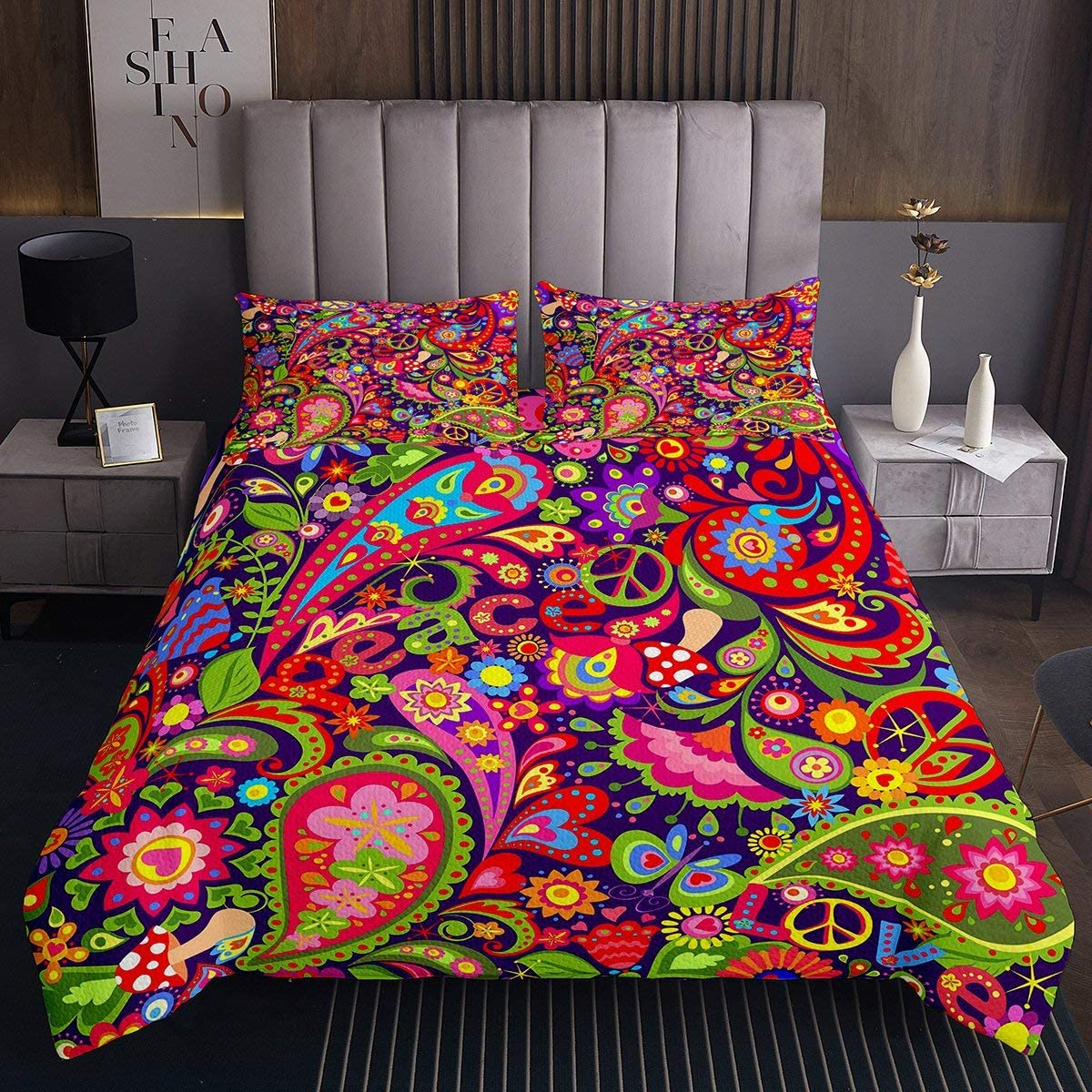 Erosebridal Paisley Quilt Gypsy Quilted Coverlet Trippy Bedspread Butterfly Insect Mushroom Colorful Spiral Quilt for Girl Women, Living Room Decorative 3Pcs Bedclothes King Size