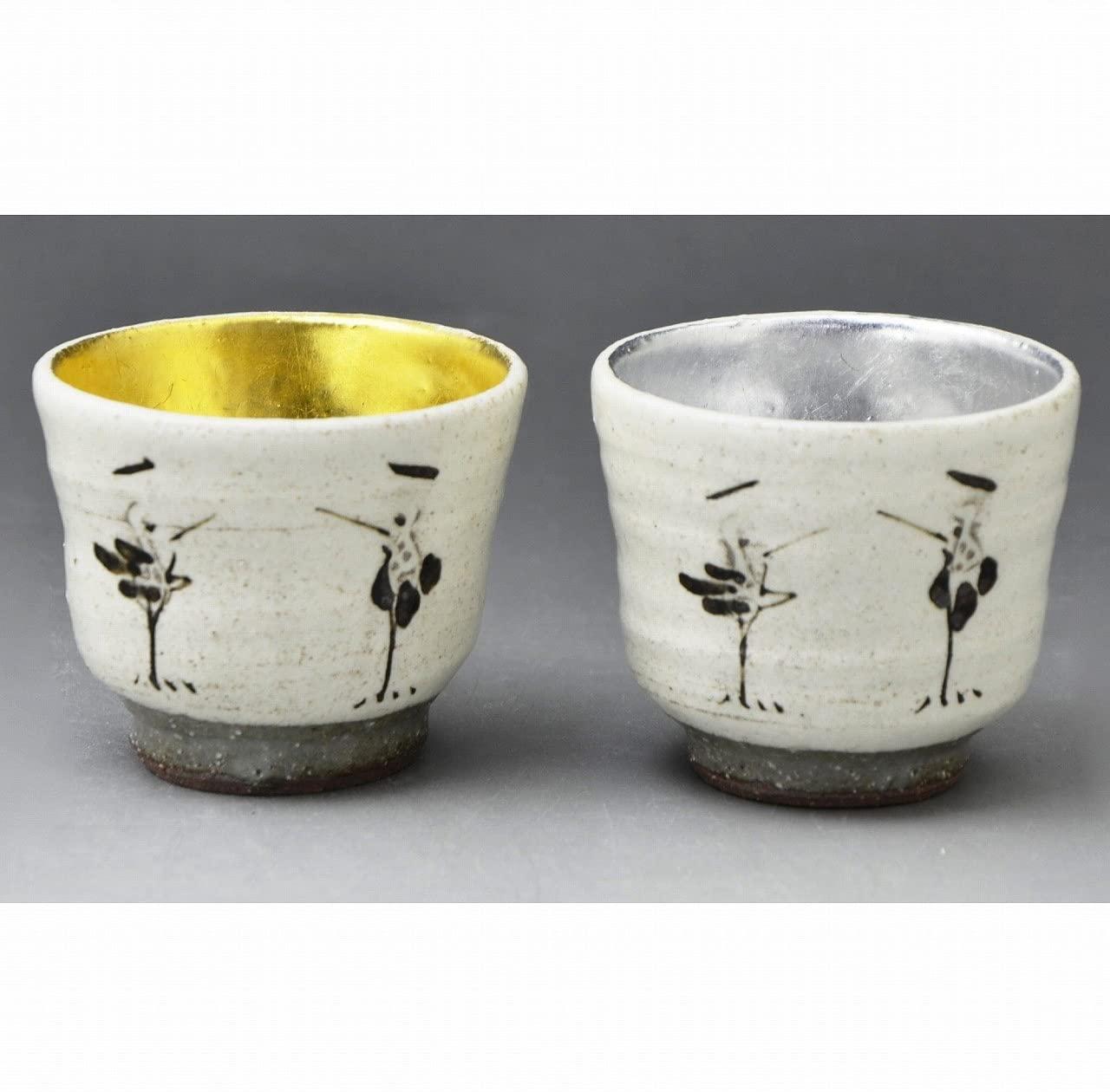 Kiyomizu-kyo yaki ware. Set of 2 Japanese Sake guinomi cups gold and silver crane with wooden box. Ceramic. kymz-GMV079